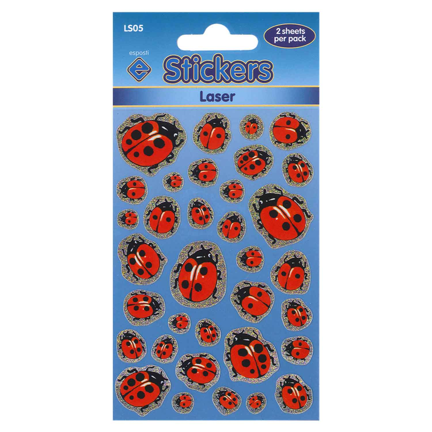 Esposti Laser Ladybirds Self Adhesive Novelty Stickers - Pack of 10