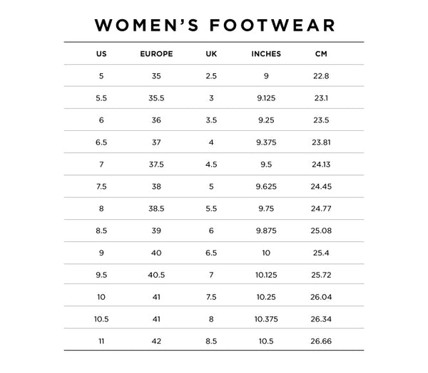 white store shoes size guide