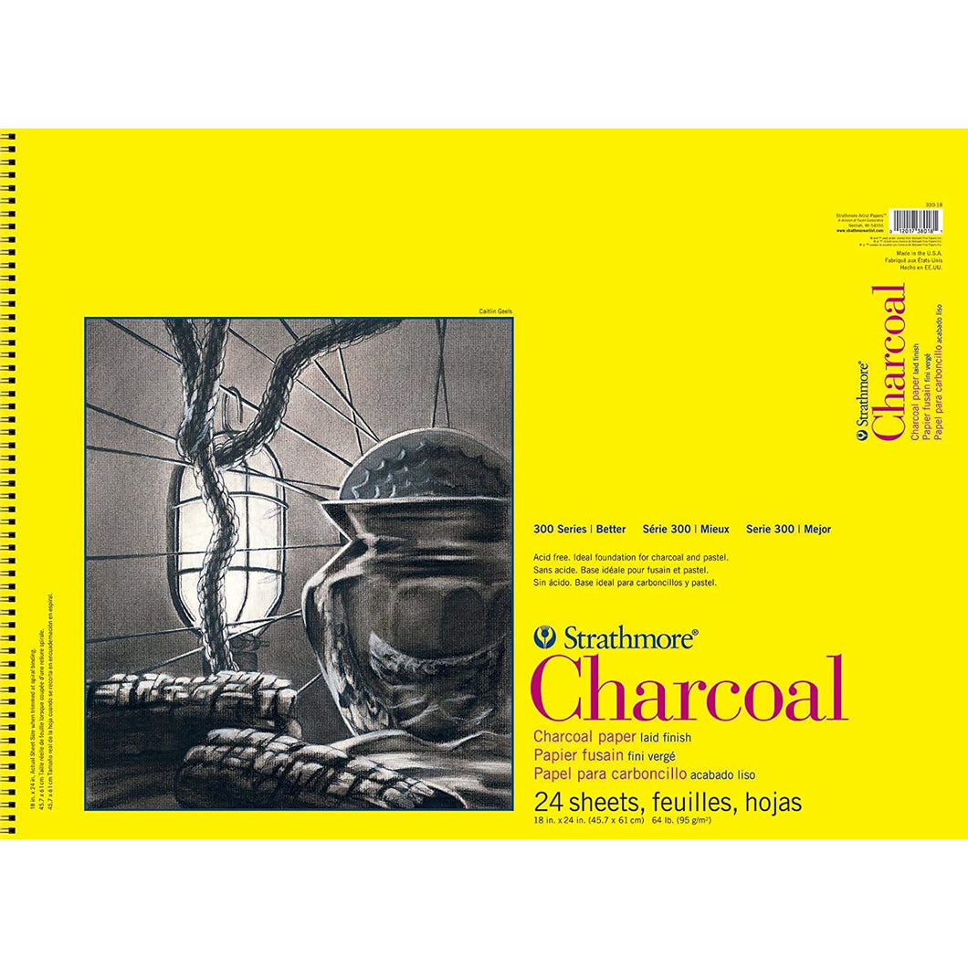 Strathmore 300 Series Charcoal Paper, White - Wire Bound, 24 Sheets/Pad, 18