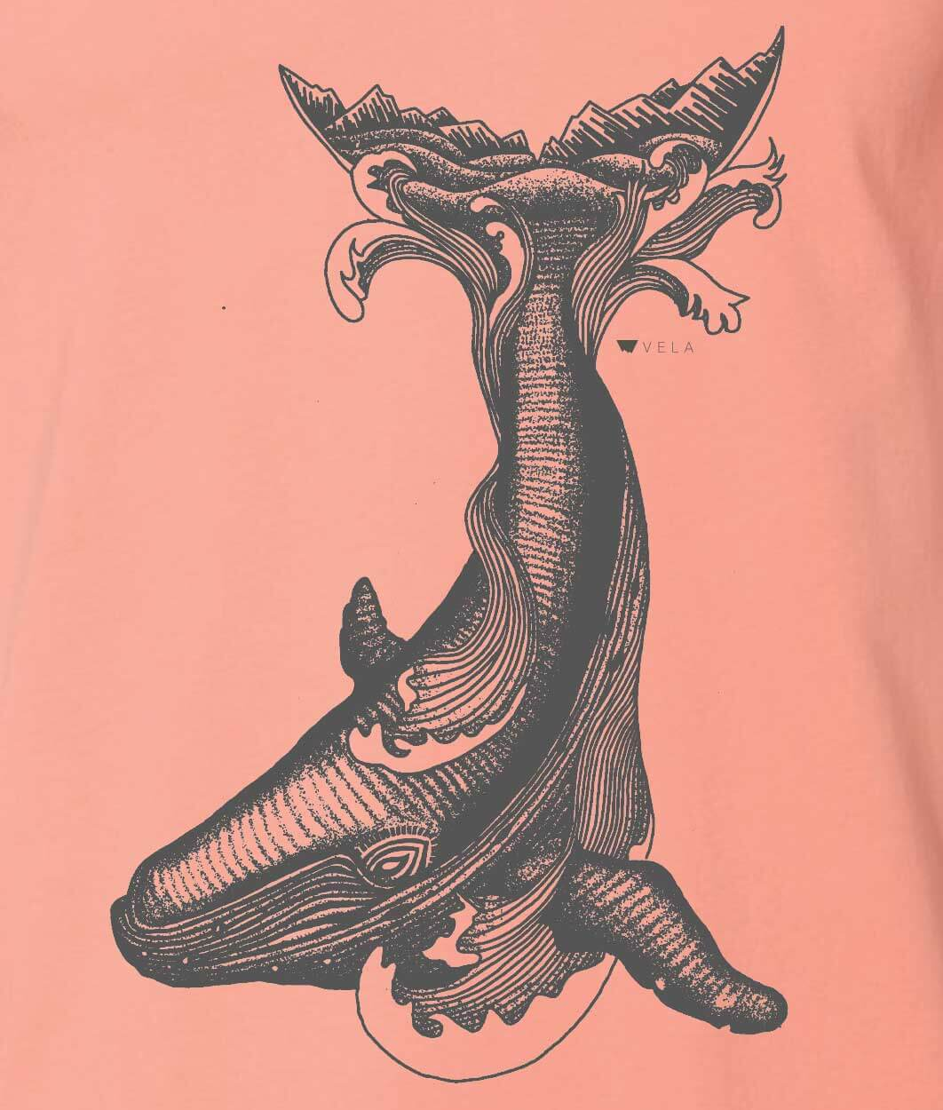 Whale T-shirt | Charcoal and Salmon