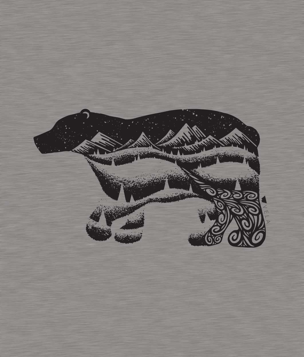 Bear Long Sleeve T-shirt | Black & Heather Grey