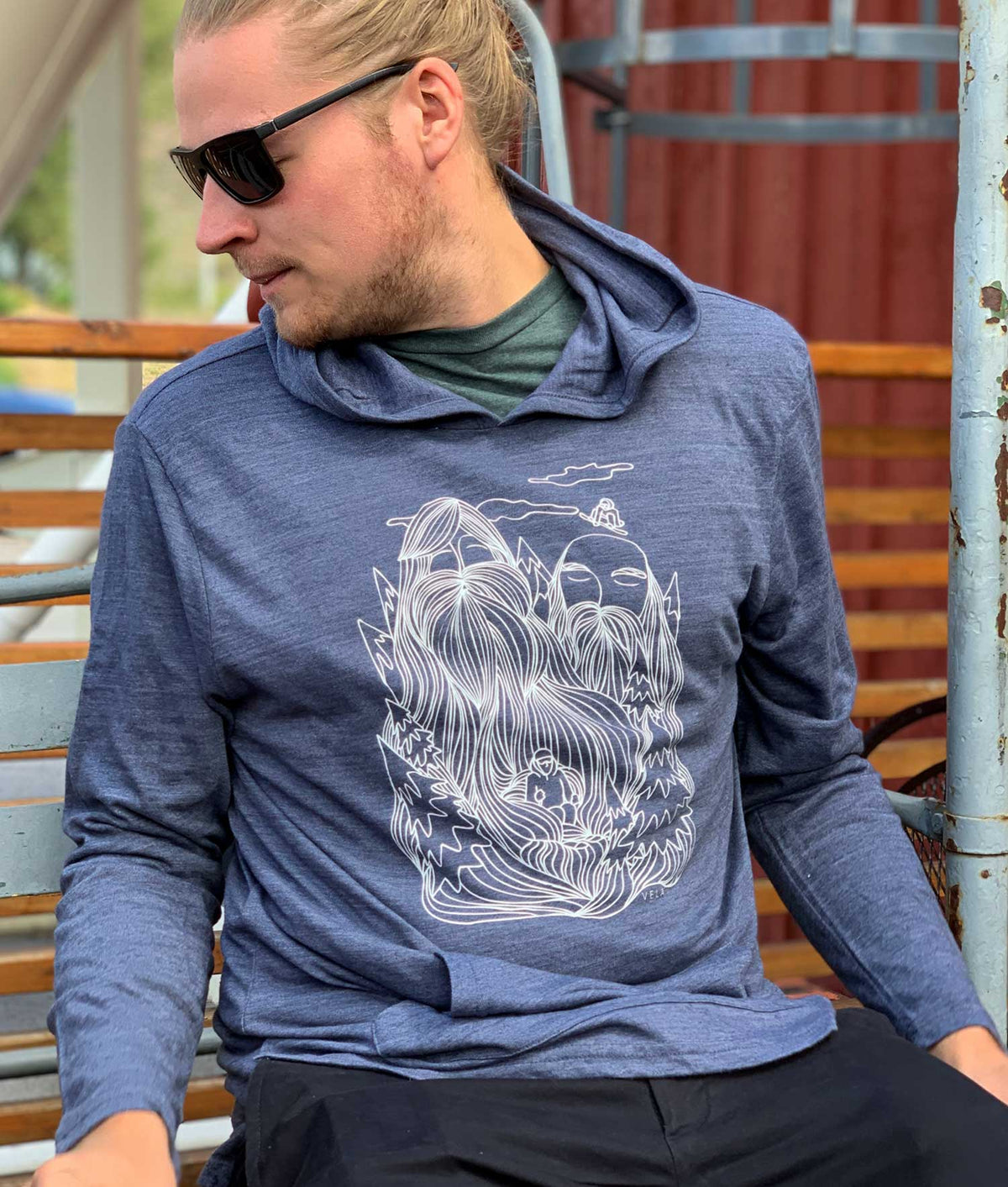 Mountain Men Hooded Long Sleeve Pullover | White & Heather Navy