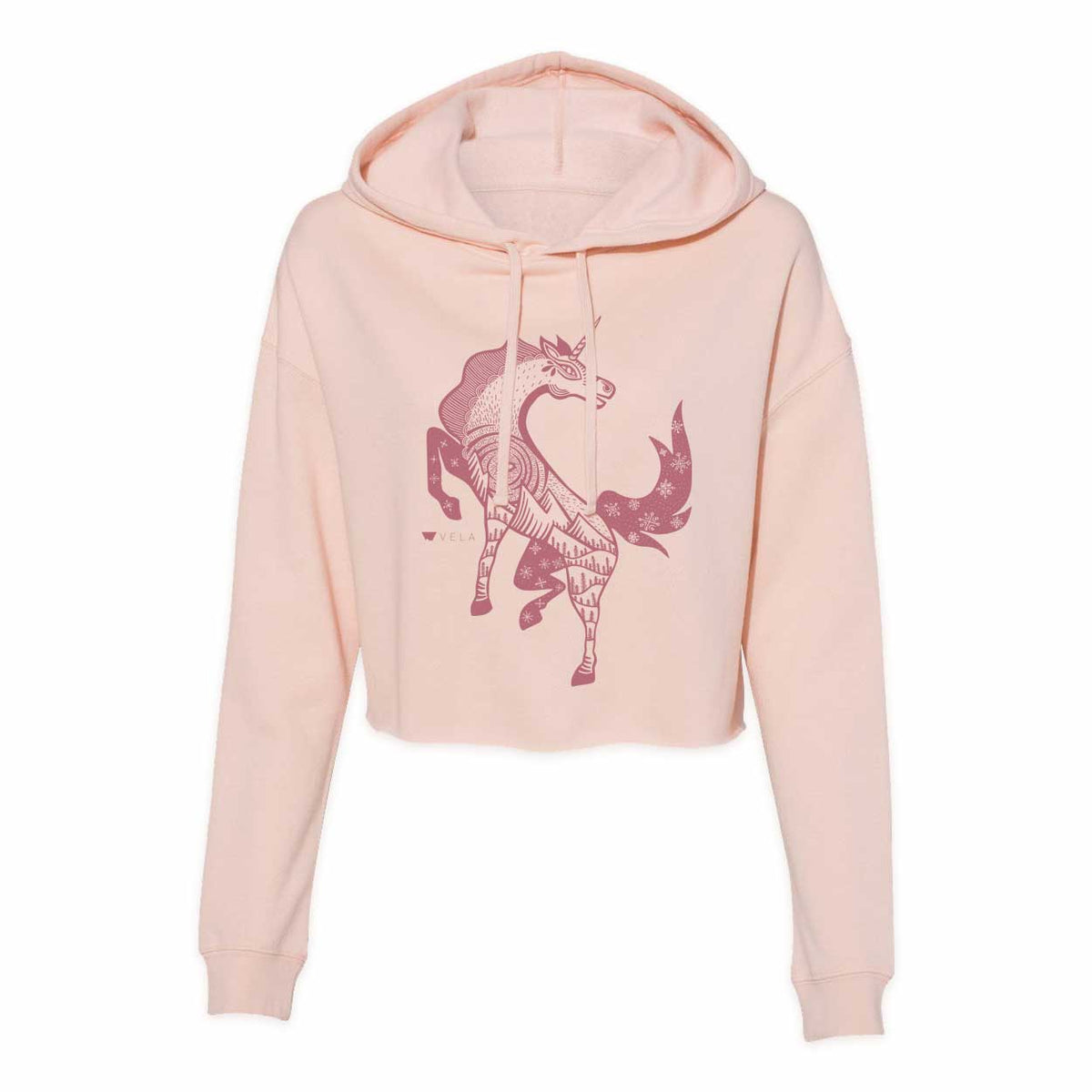 Unicorn Cropped Hooded Sweatshirt | Blush