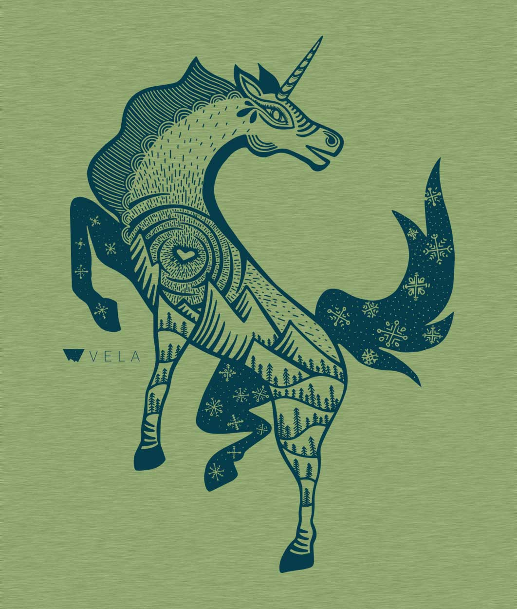 Unicorn T-shirt | Azure & Heather Green