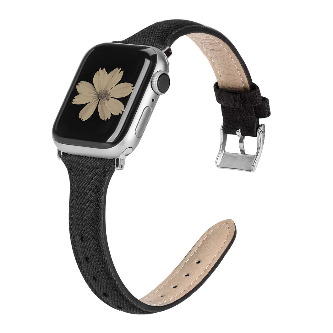 TOYOUTHS Apple Watch Band Woven Canvas Fabric Cloth Band Rose Gold Strap Wristband Women Men