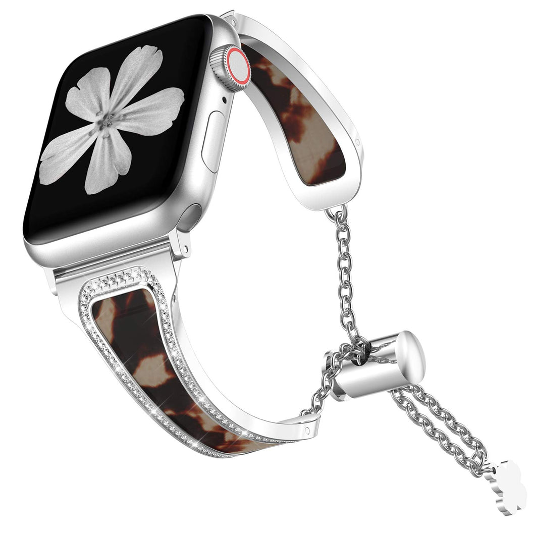 TOYOUTHS Apple Watch Band Sparkle Bling Jewelry Cheetah Stainless Steel SeriesSE 6 5 4 3 2 1