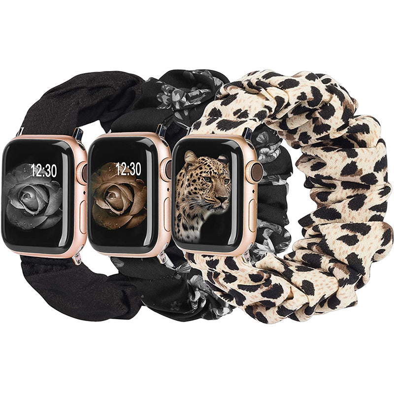 TOYOUTHS 3 Packs Apple Watch Band Scrunchies Cloth Soft Pattern Printed Fabric