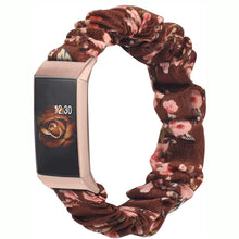 Load image into Gallery viewer, TOYOUTHS Fitbit Charge 3/Charge 4 Bands Scrunchie Women Girl Rose Gold Elastic Cloth Fabric Strap Pattern Printed