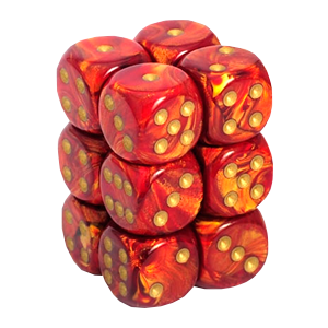 Chessex D6 16mm - Scarab - Scarlet & Gold CHX27614