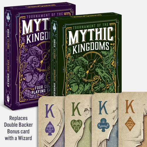 Four-Color Set of TMK Playing Cards - Purple and Green Decks