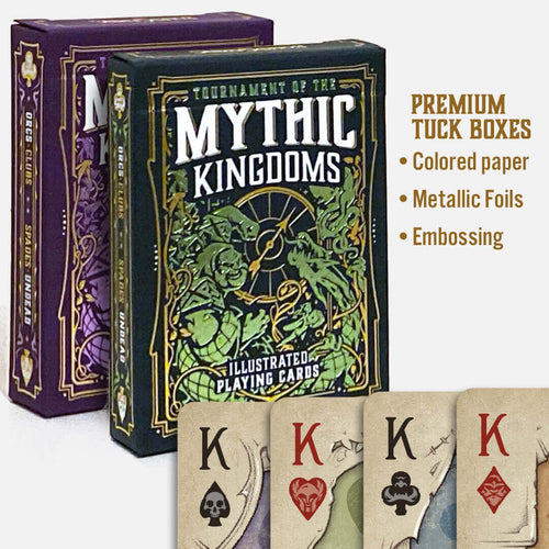 Premium Set of TMK Playing Cards - Purple and Green Decks