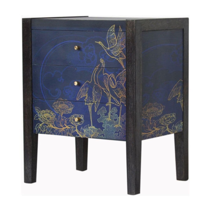 Alfredo 3-Section Bedside Table Blue Home Furniture