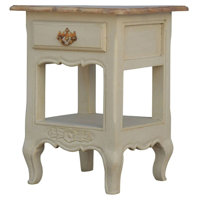 Arambol Carved Bedside Table Oak Finish Home Furniture