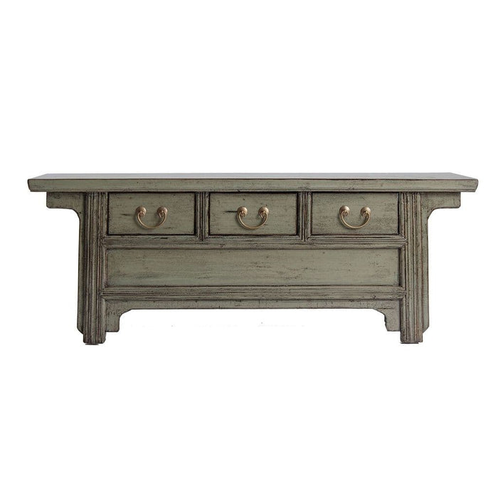 Bernadette 134cm Green Washed TV Stand With Drawers