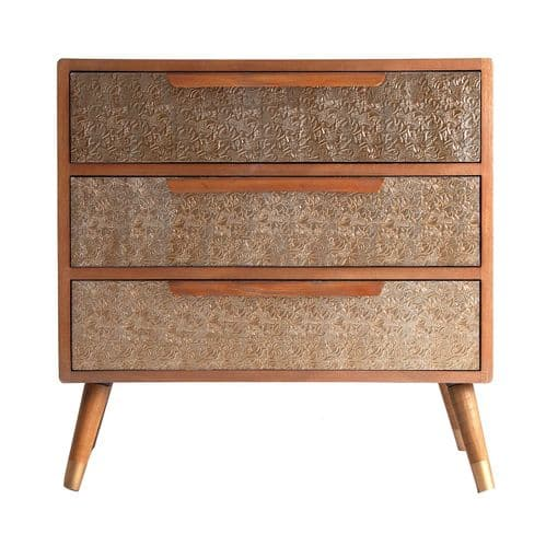 Bernastine 80cm Gold 3 Drawer Chest
