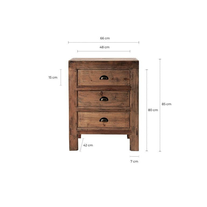 Bernice Solid Elm Wood Bedside Tables