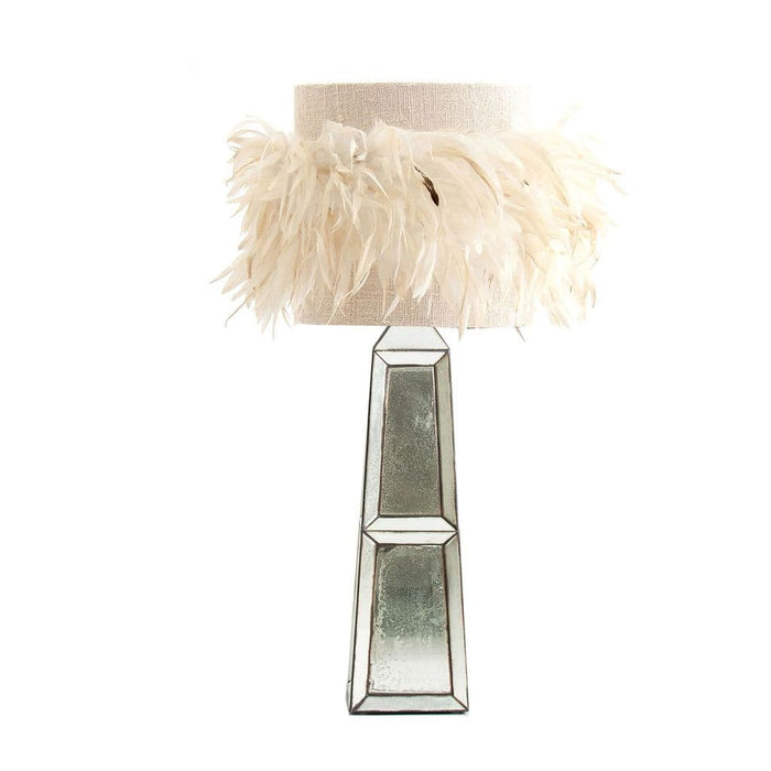 Carlay Mirrored With Feather Shade Table Lamp
