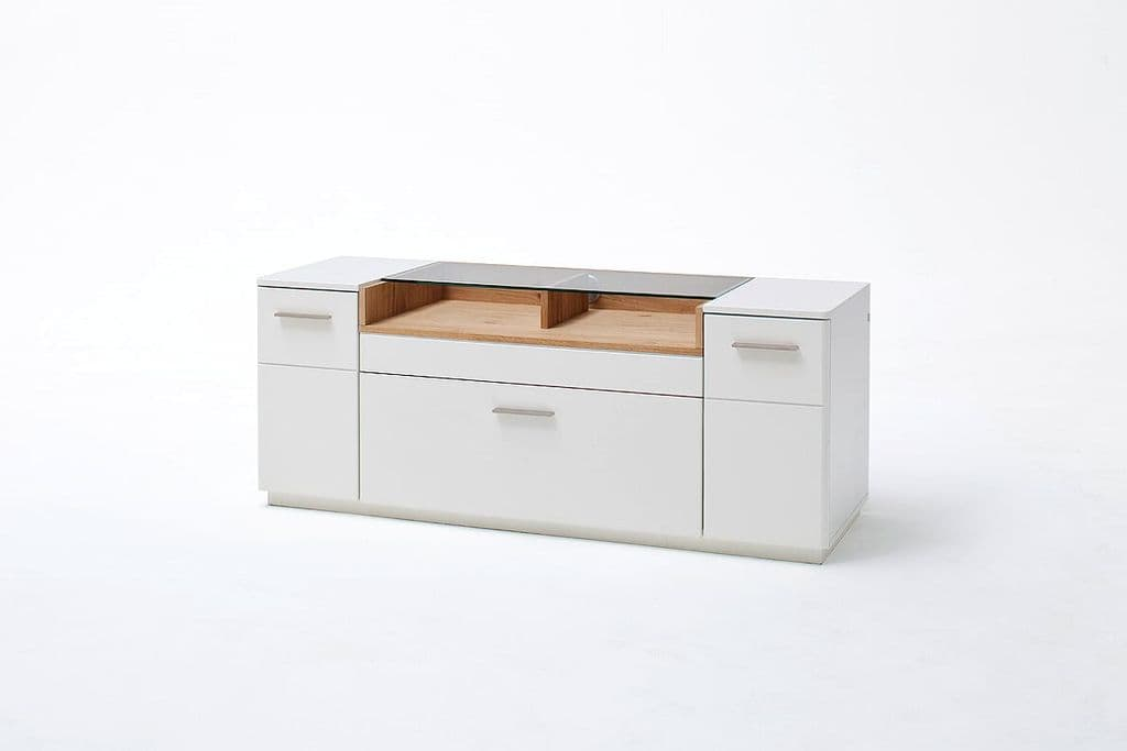 Cessi 150cm Tall White And Oak TV Stand