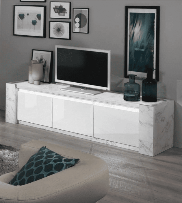 Edina 195cm TV Stand White And Marble Gloss