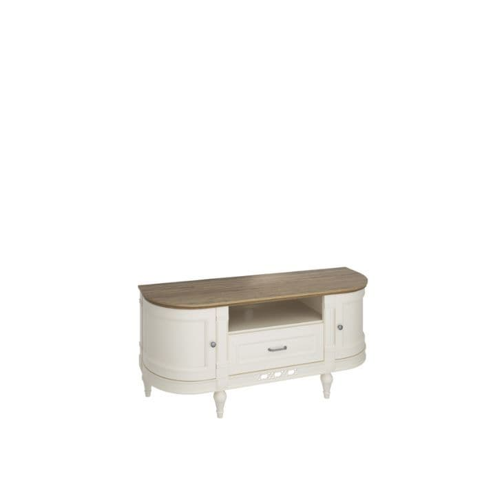 Flora 135cm Curved Vanilla Cream And Oak TV Stand