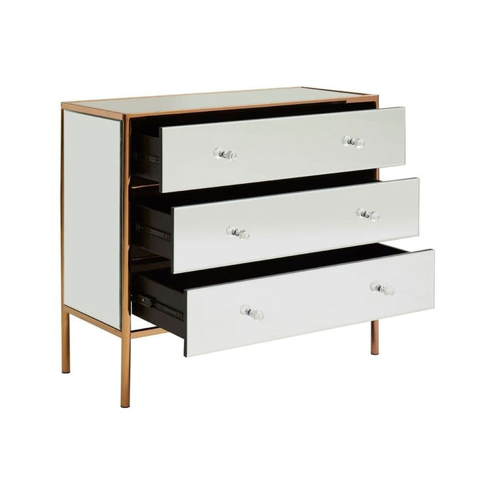 Garrett 3-Drawer Chest Rose Gold Bedroom Furniture