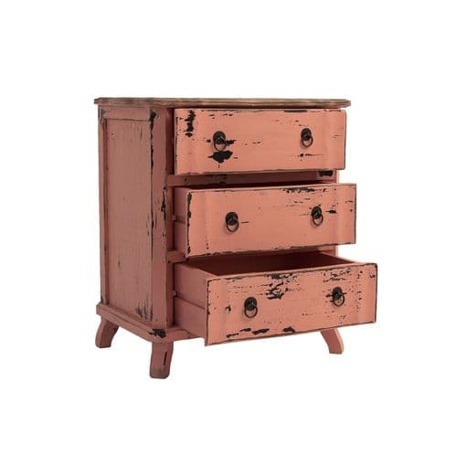 Kiki Distressed Pink Bedside Table