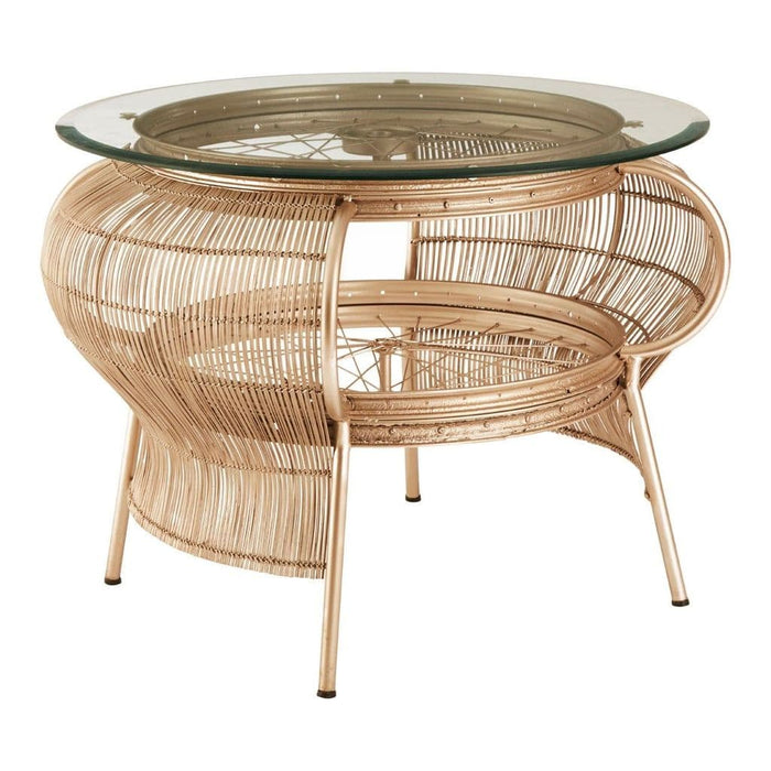 Marcia Large Round Table Champagne Gold Home Furniture