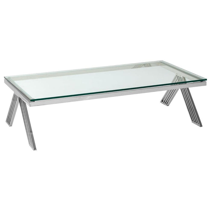 Presta Glass Coffee Table Silver Home Furniture