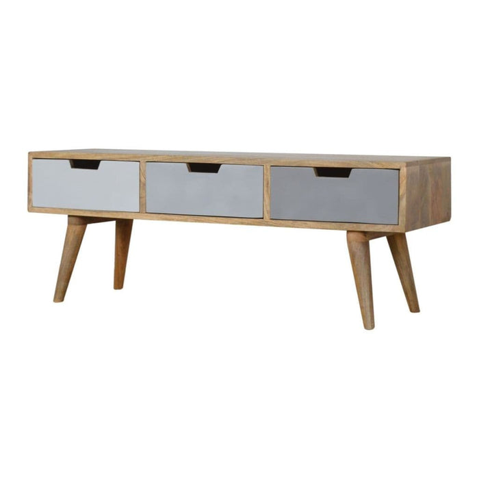 Racour Wooden Media Unit Oak Finish Home Furniture