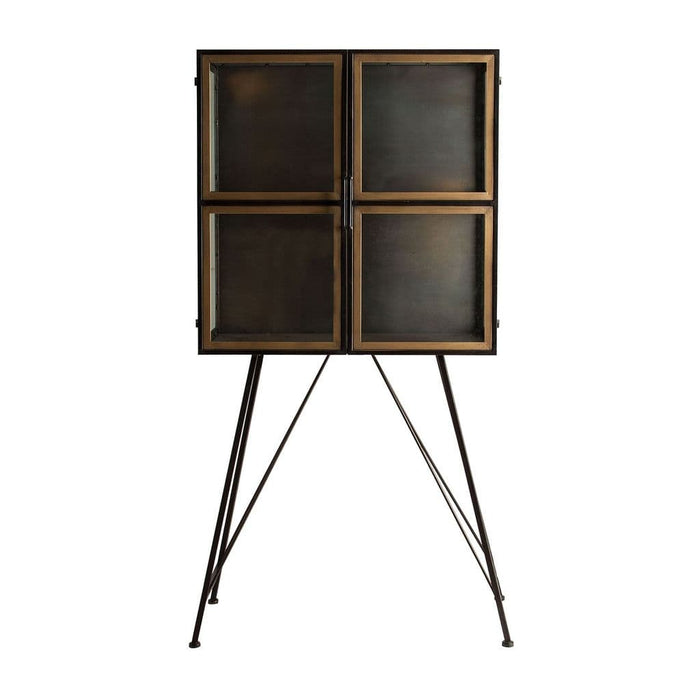 Rikka 81cm Black And Old Gold Display Cabinet