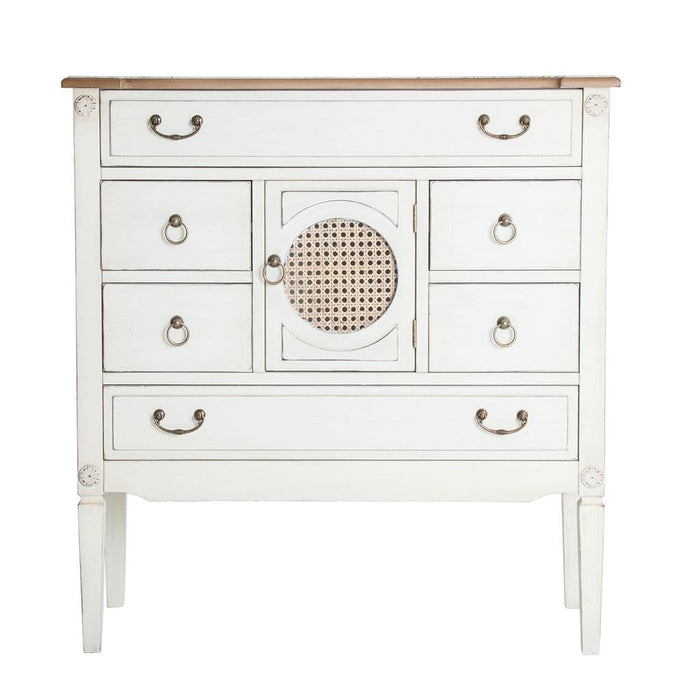 Rita Tall White Distressed Shabby Chic Multi Use Storage
