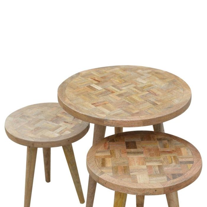 Severta Oak Nesting Table Set of 3 Home Furniture