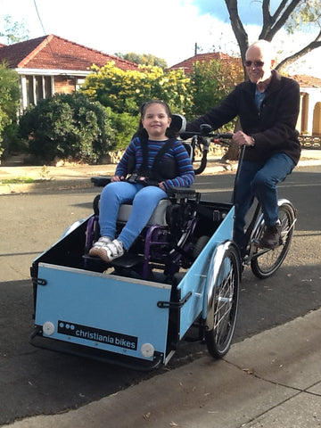 Anna obtained a cargo bike designed to carry Abby in her wheelchair through the National Disability Insurance Agency.