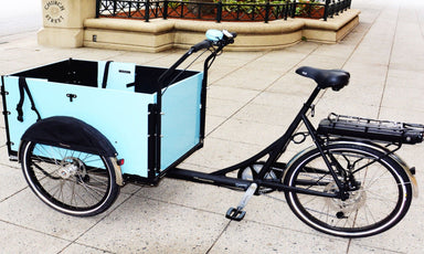 Model Light Cargo Bike with rearDrive Electric Assist (Straight box)- Light Blue