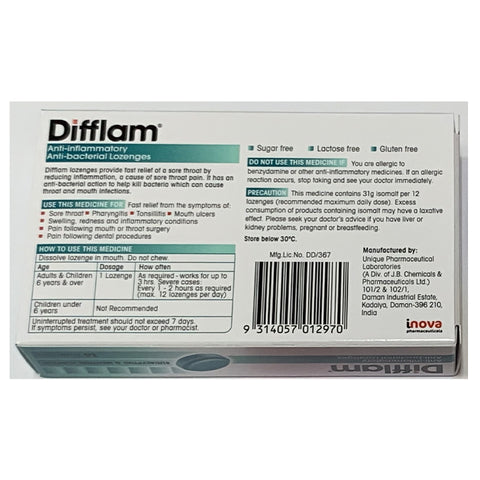 Difflam Anti inflammatory And Anti bacterial Lozenges 16 tablets- Eucalyptus and Menthol Flavour
