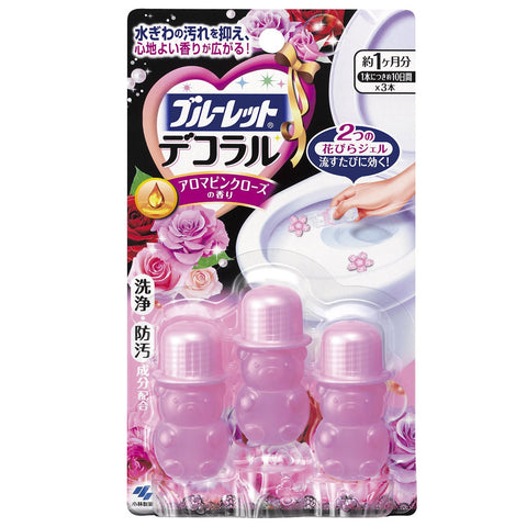 Kobayashi Bluelet Toilet Bowl Decoral Cleanser Pink Rose Aroma 3 x 7.5g