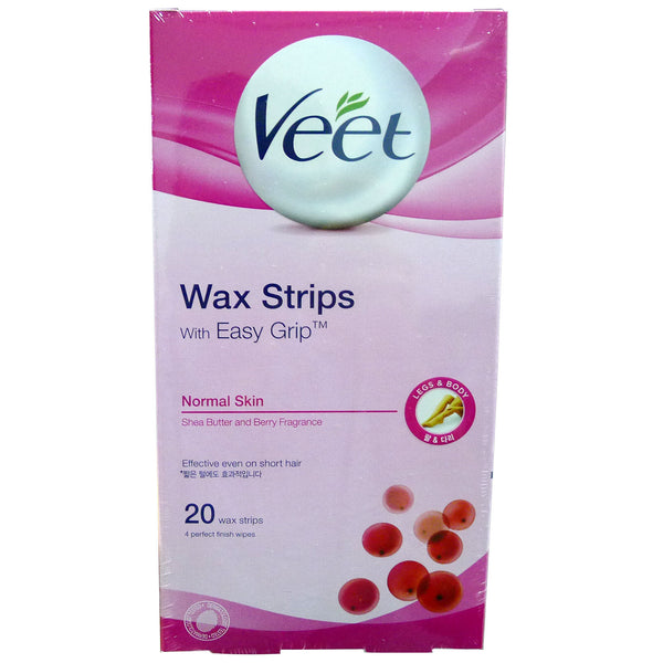 Veet Hair Removal Wax Strips Normal Skin 20 Strips Sentoheal