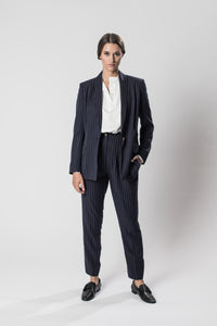 Navy pinstriped pants