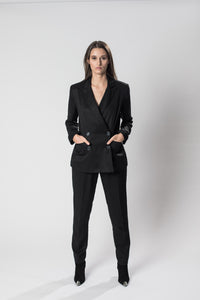 Black double-breasted jacket