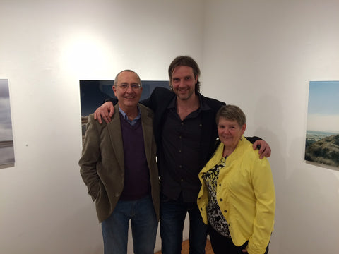 David Wile with his parents at Agora Gallery