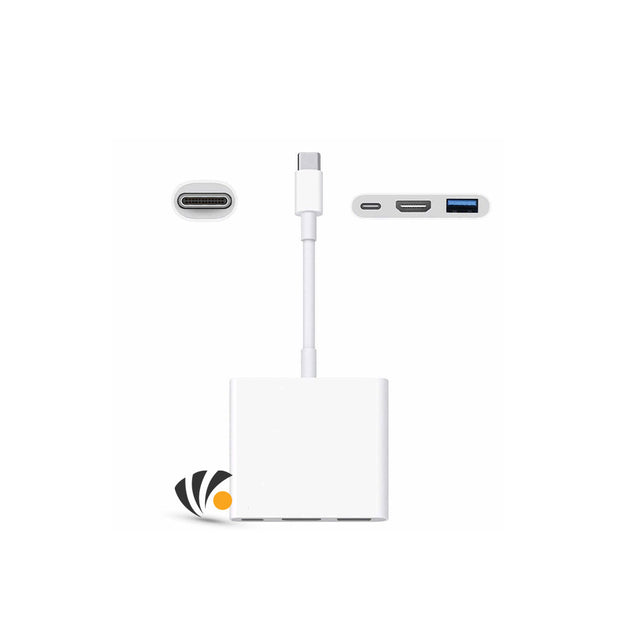 Apple Adapter USB-C To HDMI And USB-C White