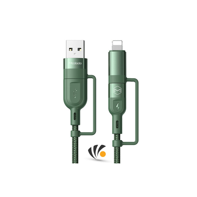 Mcdodo 4 in 1 PD Fast Charge Data Cable 1.2m Green