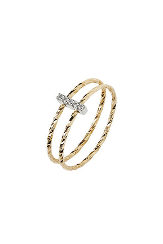 GISH BLANC DIAMOND CUT RING - 14K GULD