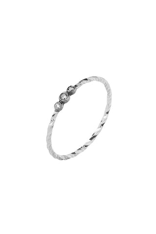 JESSA MONO DIAMOND CUT RING - 14K HVIDGULD