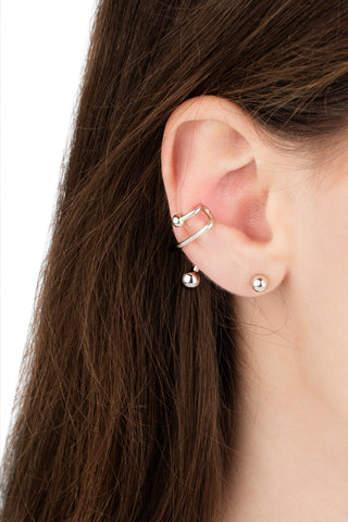 ILLUSION EAR CUFF - BLANKPOLERET FORGYLDT SØLV