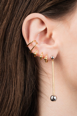 ORBIT EAR CUFF - BLANKPOLERET FORGYLDT SØLV