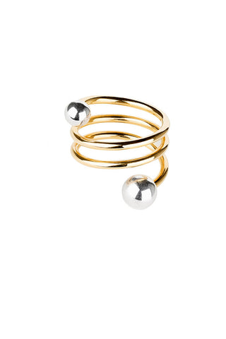 BODY DOUBLE SPIRAL RING - TWO TONE