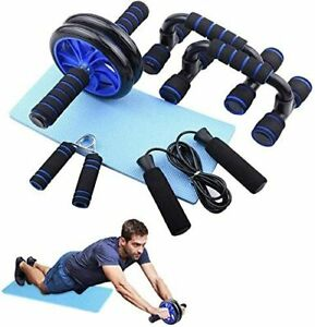 Muscle Exercise Equipment Abdominal Press Wheel Roller Home Fitness Equipment Gym Roller Trainer with Push UP Bar Jump Rope