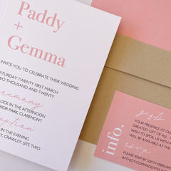 Pink, kraft and white invitation suite