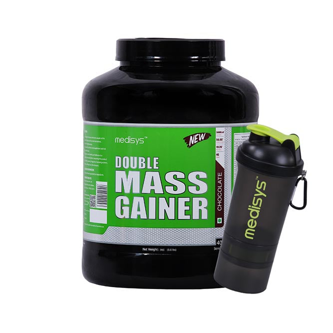 Medisys Double Mass Gainer - Chocolate 3Kg with Shaker